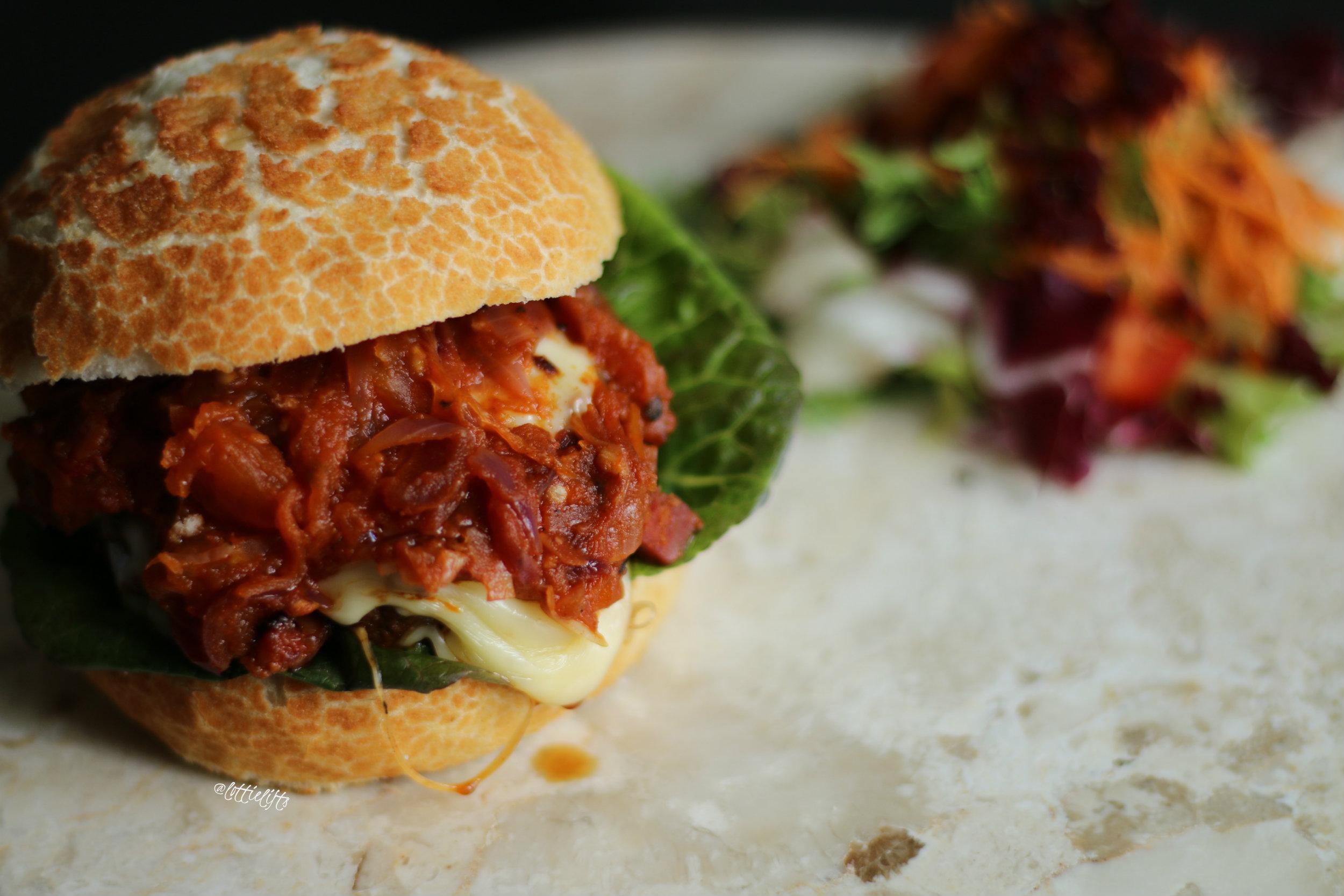 Chorizo Beef Burgers with Sweet & Smoky Tomato Relish