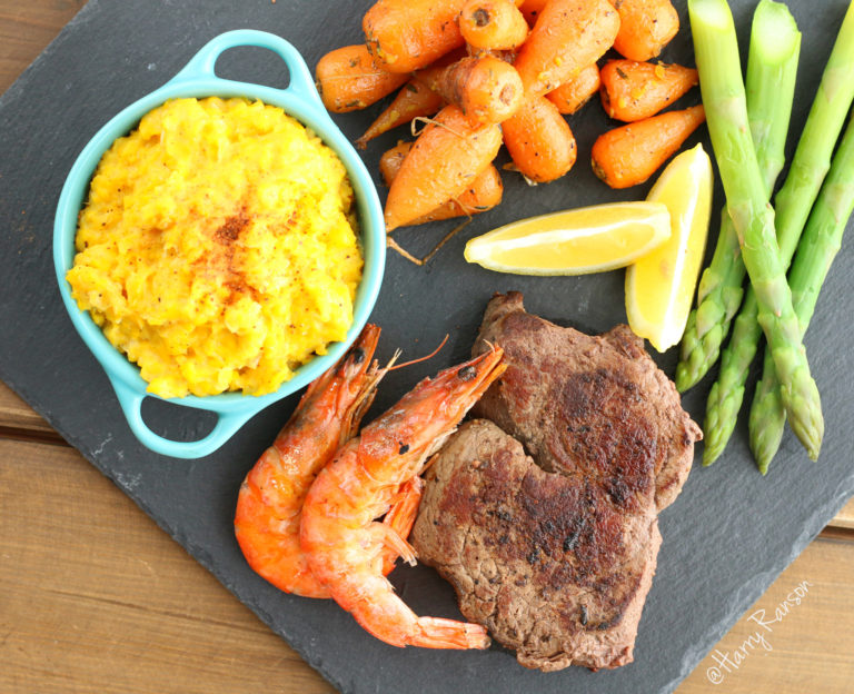 Surf 'n' Turf with Creamed Sweetcorn and Honey Glazed Chantenay Carrots #PowerOfFrozen