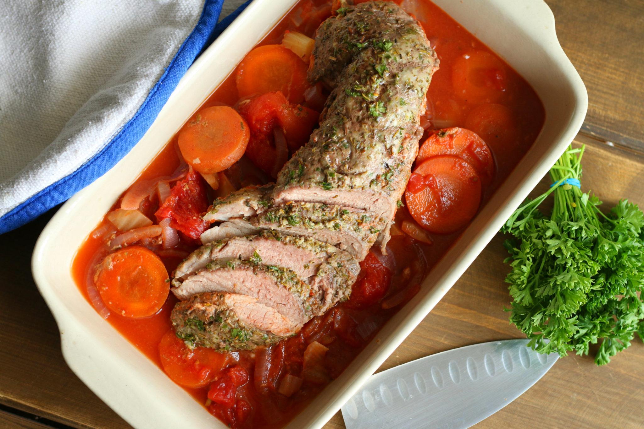 Parmesan & Herb Crusted Pork Tenderloin {Slow Cooker}