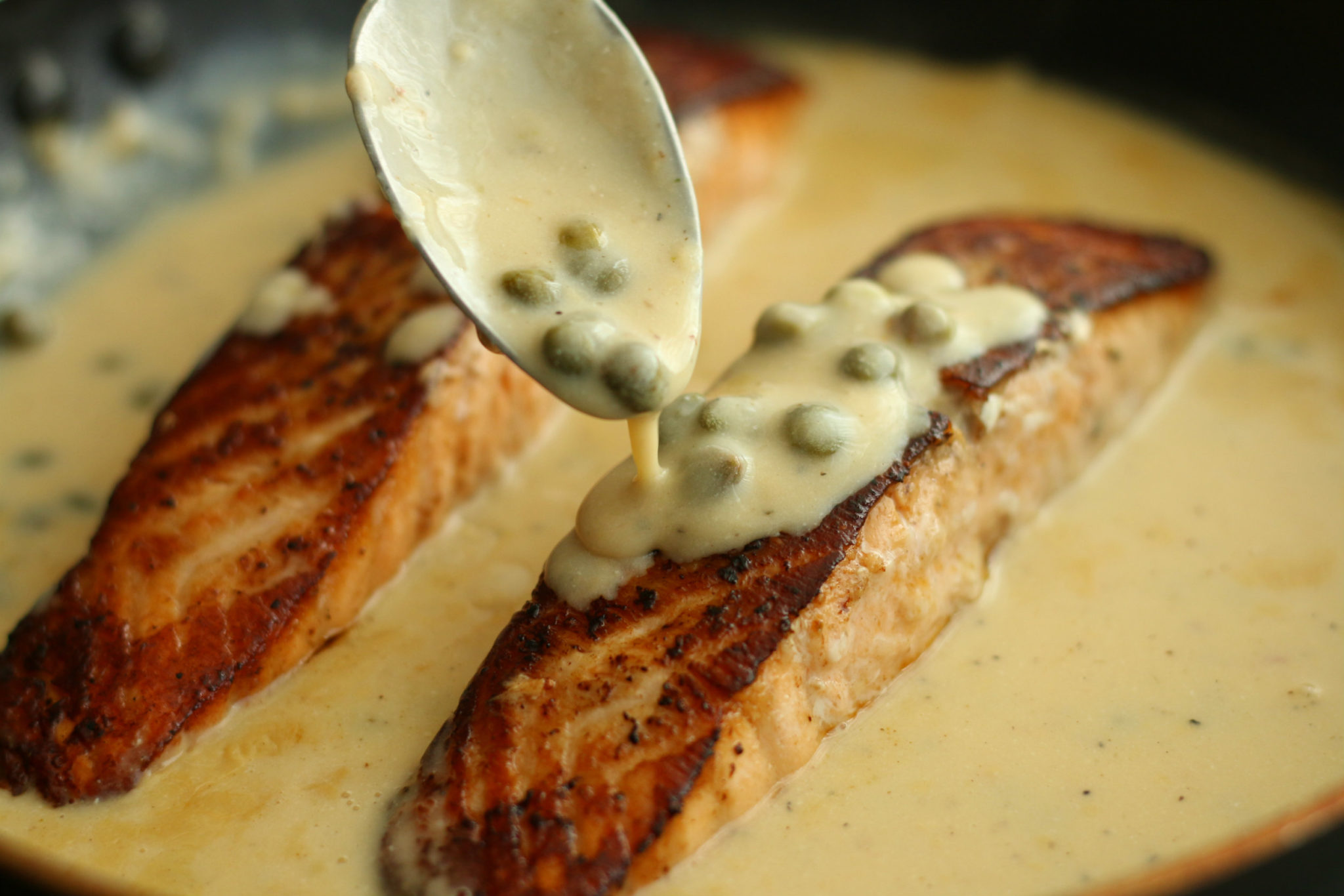 Salmon with Creamy Lemon & Caper Sauce