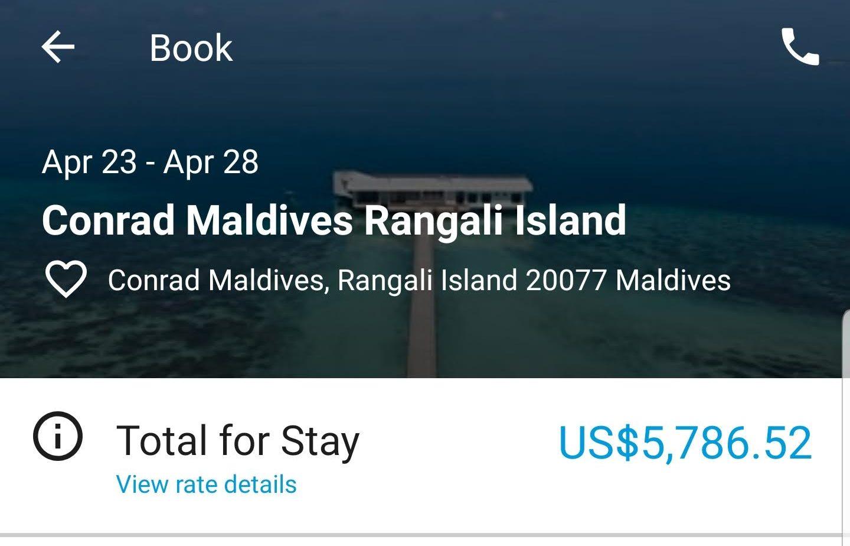Conrad Maldives true cost